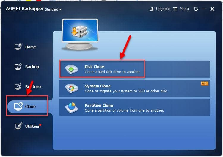 AOMEI Backupper disk clone